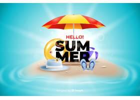 海滩背景下的逼真夏日元素_4652677