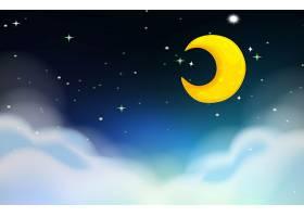 月亮和星星的夜景_4932768