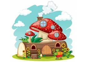 木质蘑菇屋和以花园卡通风格为背景的天空_8917537