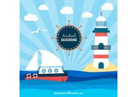 有船和灯塔的装饰性航海背景_1002262