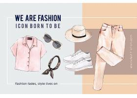有衬衫太阳镜裤子鞋子的时尚背景_6059066