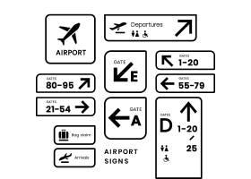 机场标志图标向量集_3460185