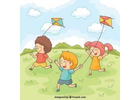 微笑的孩子们在玩风筝_999084