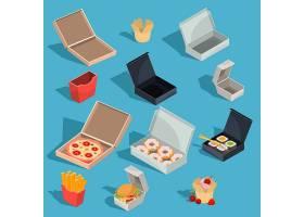 快餐餐在纸板包装和空开纸盒中的矢量等距图_1215937