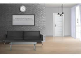 房屋起居室公寓大厅内部在极简主义风格的_4015187