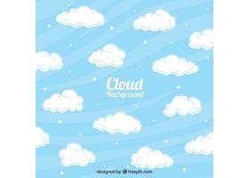 带有装饰性云彩的波浪形背景_997687