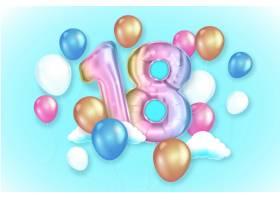 带有逼真气球的18岁生日快乐背景_10469418