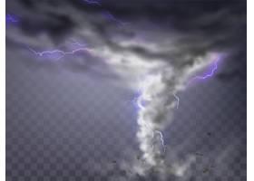 带有闪电的逼真龙卷风透明背景上孤立的破_2891024