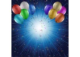 带气球的蓝色生日背景_922735