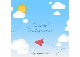 平坦样式的天空中有云和纸飞机背景_2126729