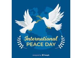 平坦的和平日背景配上鸽子_5205635