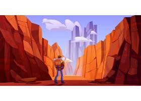 峡谷沙漠公路上手持地图的徒步旅行者_9292996
