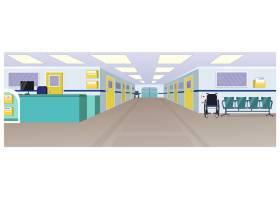 带接待处的医院大厅走廊和椅子的门_3296562