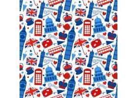 带有伦敦地标和英国符号的无缝图案背景矢量_1158208