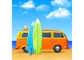 带有冲浪插板的复古公交车_3949290