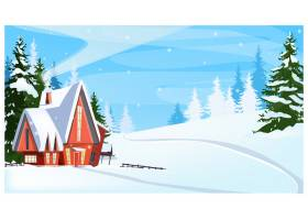 带有小屋和冷杉树插图的冬季景观_3575687