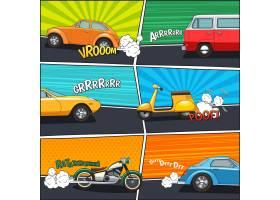 带有活动汽车面包车摩托车和滑板车的运_4188646