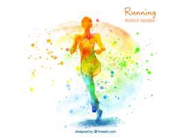 女子奔跑的艺术水彩背景_968187