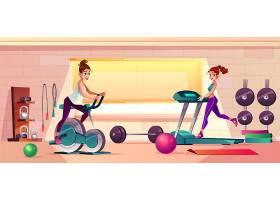 女孩健身的健身房矢量卡通背景_4015272