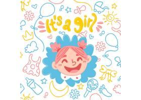 婴儿送礼会女孩背景_7245617