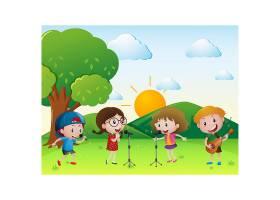 孩子们在草地上唱歌_1021837