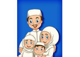 家庭成员在卡通人物颜色渐变背景上_9306055