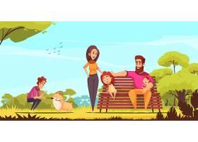家庭活动假期家长和小狗在蓝天公园的夏令营_7250430