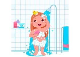 小女孩角色洗澡每天例行公事浴室内部背_4015678