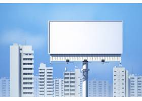 城市天际线背景上的室外逼真3D广告牌_3924893