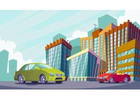 城市景观的矢量卡通插图有大型现代建筑和_1215825