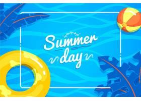 夏日背景沙滩球和树叶_8400855