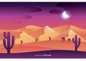 夜间的沙漠景观_5329925