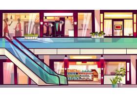 商场里有商店和咖啡馆的插图带杂货店超市_3519511