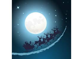 圣诞老人坐在他的雪橇圣诞背景上骑着黄昏_10602198