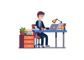 在办公桌前工作的商人企业家_1311600