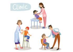 在诊所工作的儿科医生卡通矢量_1371767