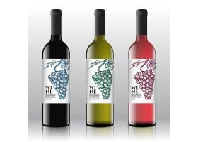 在逼真的瓶子上贴上优质的红白粉红葡萄_9952376