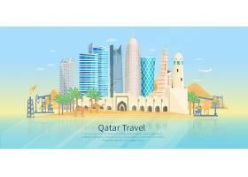 卡塔尔天际线平面海报_3982364