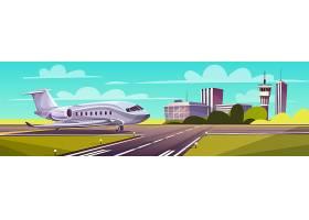 卡通插图灰色客机跑道上的喷气式飞机_3266703