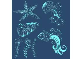 印度门迪风格的抽象海洋生物载体抽象指甲_1283445