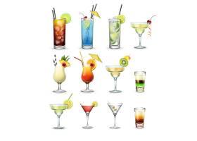 受欢迎的鸡尾酒和饮品向量套装古巴libre_11053192