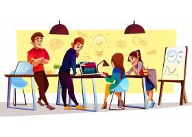 合作中心的卡通人物创意空间自由职业者_3266662