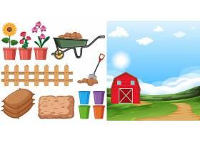 农场场景农场上有农田和其他农具_8485554