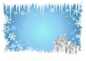 冻结的蓝色圣诞背景_829479