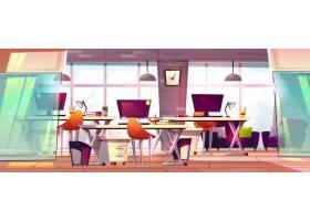 办公空间插图或合作业务打开工作场所内部_3266685