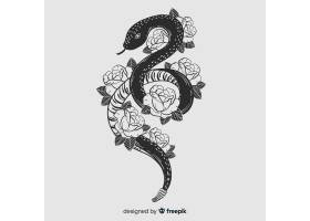 以花卉为背景的手绘无色蛇_4149938