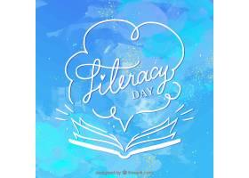 以蓝色水彩画为背景的扫盲日打开书本_1218477