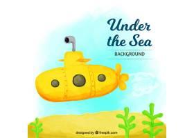 以黄色潜水艇为背景的水彩画_888693