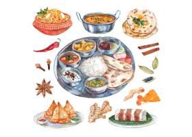 传统印度料理餐厅食品配料象形图构图海报_2874314
