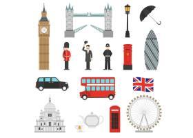伦敦地标平面图标集_3813176